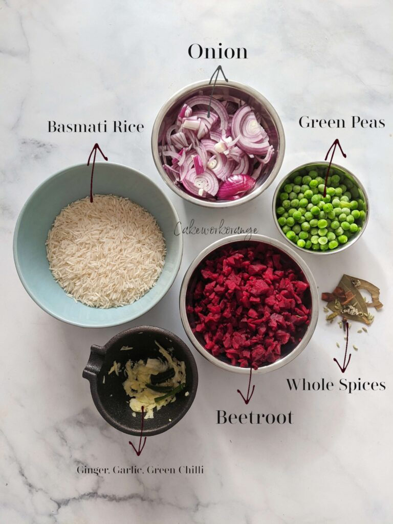 Ingredients for Beetroot Pulao