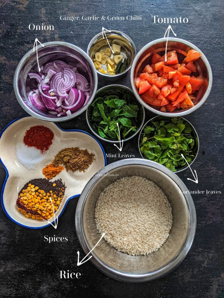 Ingredients for Tomato rice