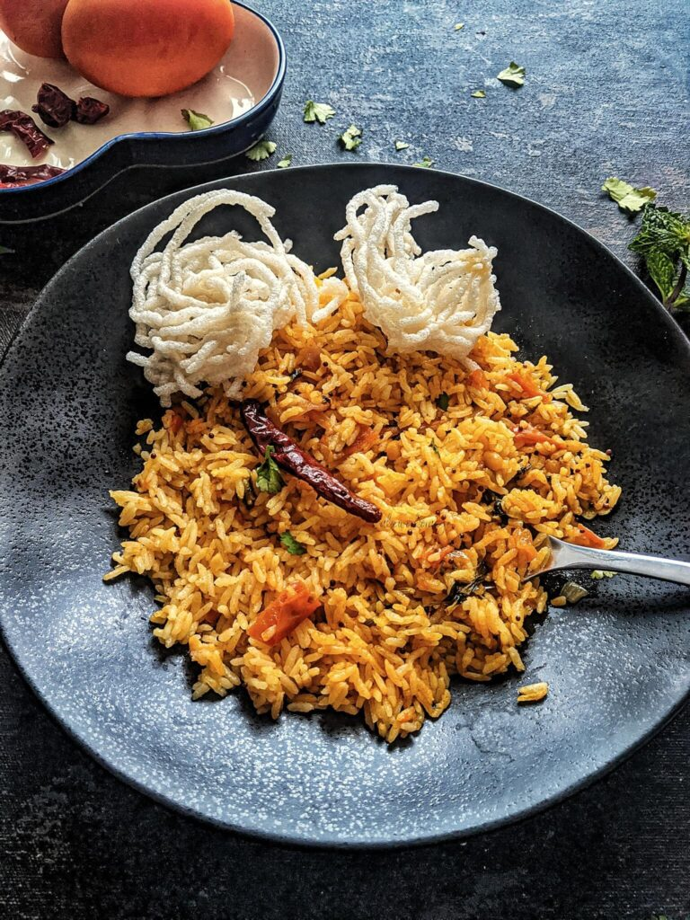 Tomato Rice with Vathal
