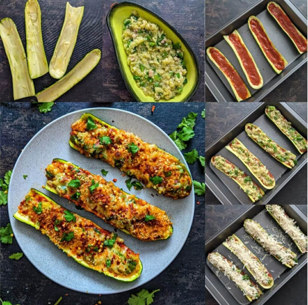 How to make zucchini boats stuffed with vegetables
