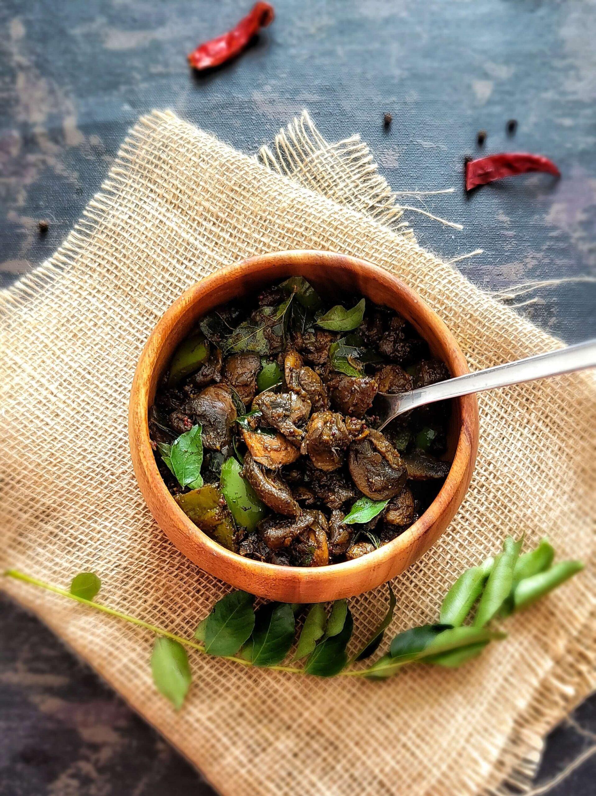 South Indian Mushroom Peppper Fry