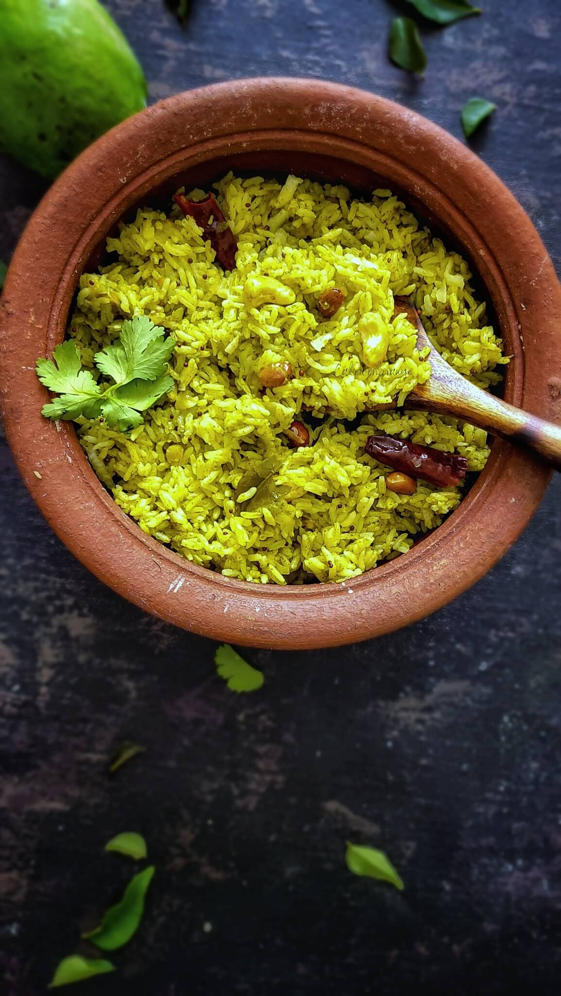 Raw Mango Cilantro Rice   Green Mango rice