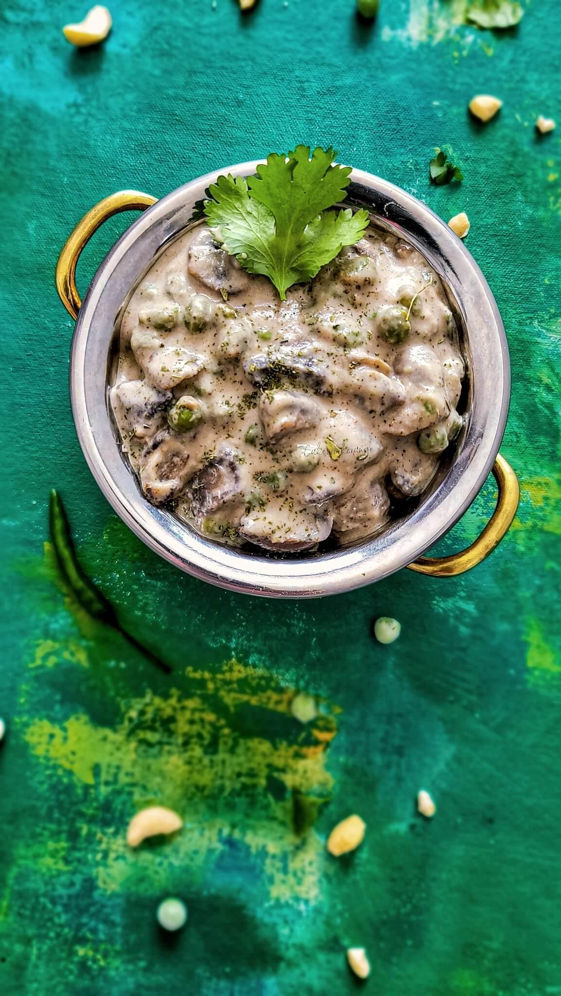 Mushroom Malai Matar | Khumb Matar Malai